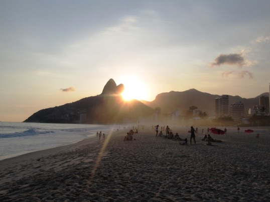 Sunset on Ipanema over ¨Two Brothers¨