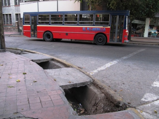 Mendoza bus and huge sidewalk trench