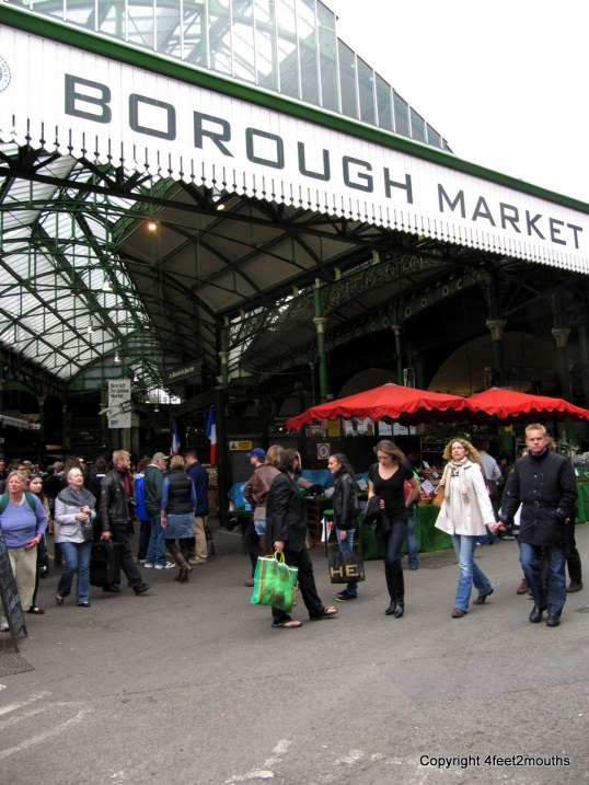 The lovely Borough Market offers delicious (but pricey) eats in London