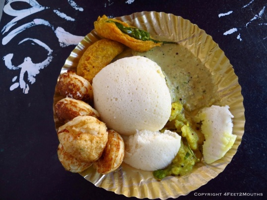 Delicious idli and gunta ponganalu breakfast from Hampi, India.  I'm pretty sure this cost about $0.75 or less with our morning chai.