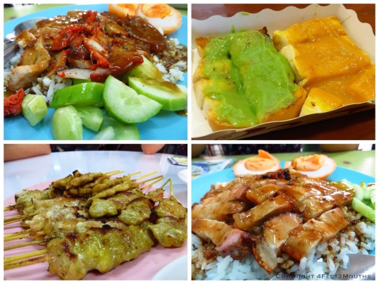 Scrumptious snacks - pork over rice, coconut toast, chicken satay