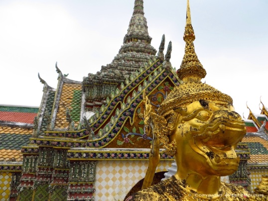 Wat Phra Kaew golden monkey and colorful temple