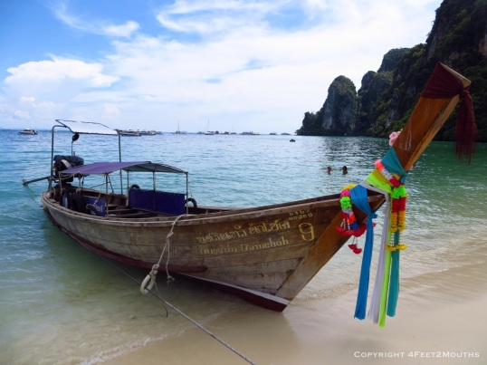 Colorful boat taxi on Phi Phi island