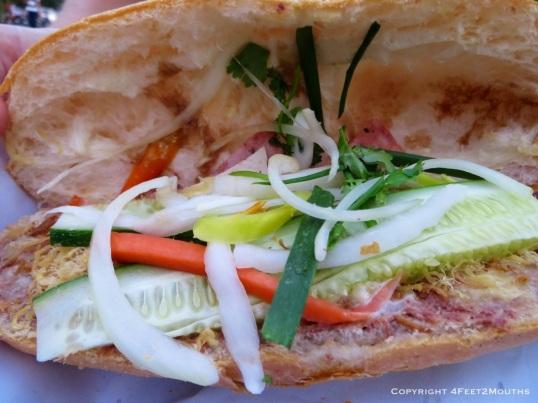 A beautiful bahn mi sandwich