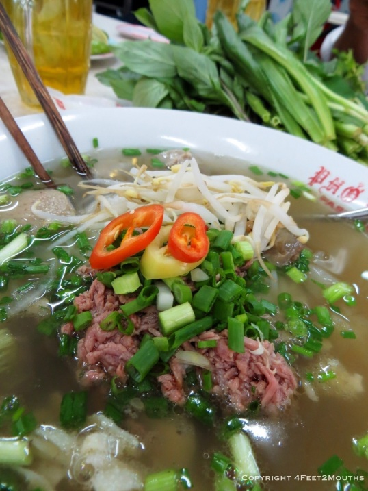 Hot steaming bowl of pho