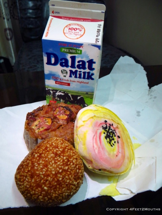 Baked goods and a carton of Dalat milk