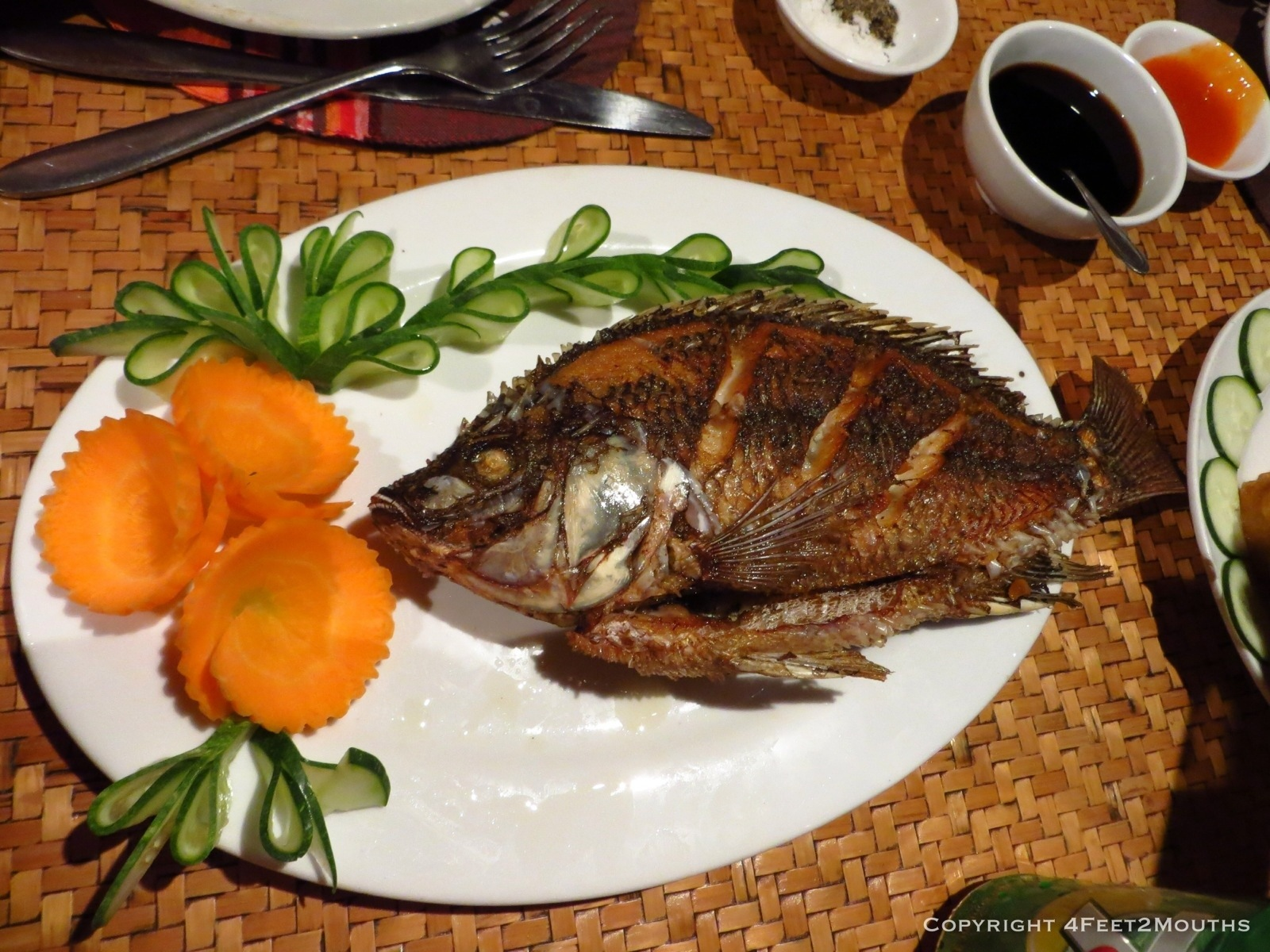 Vietnam 4 feet 2 mouths for Fried fish dinner