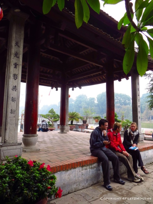 Julia, Jonathan and Nathan enjoying a temple conversation