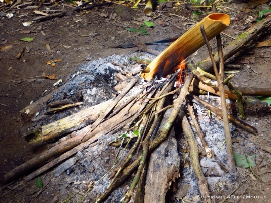 Fire in the jungle to cook our lunch