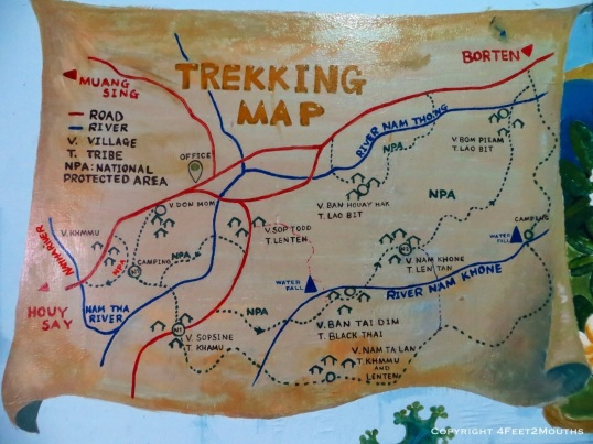 Nam Ha Jungle trekking map
