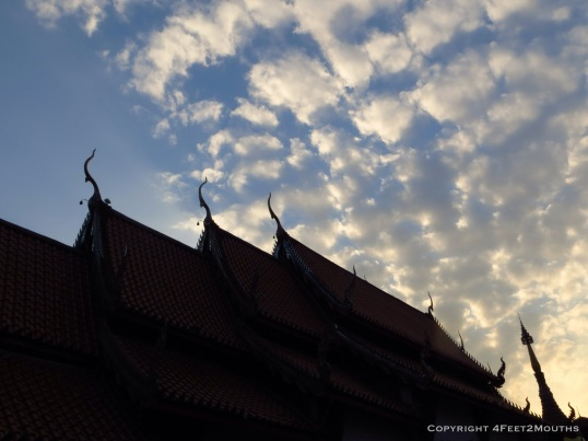 Temple roof outline at dusk