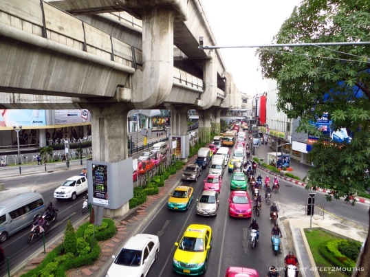 Colorful Thai traffic jam