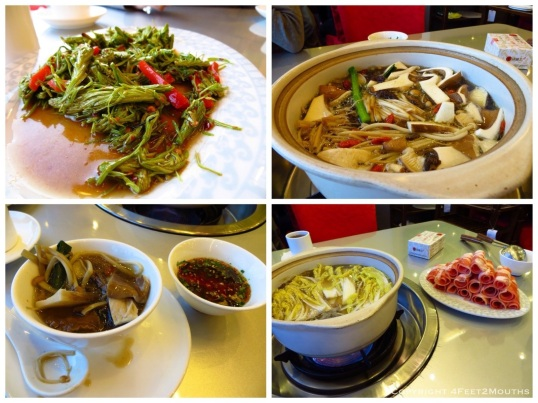 Mushroom hot pot and sides at Dian Jun Wang