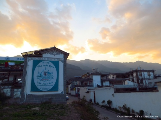 Our hostel, the Jade Emu, at sunset with the Green Mountains behind it