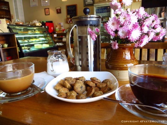 Scrumptious coffee and cookies at Sweet Tooth
