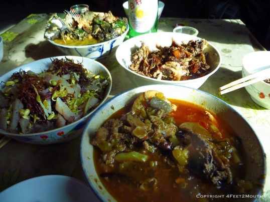 Home-cooked meal in Quanfuzhuang village