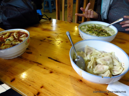 Various bowls of wantons in spicy oil, or broth or with cabbage