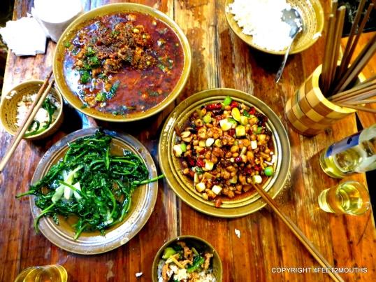 Stewed pork belly, gong bao ji and seasonal greens