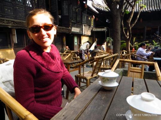 Carmen enjoying tea at the Huánhóu Palace Tea House