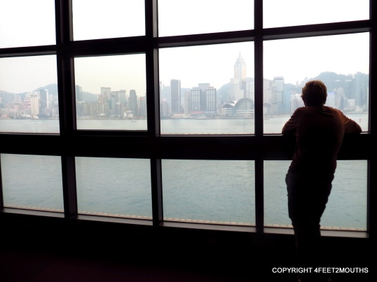 Checking out the view of Hong Kong Island