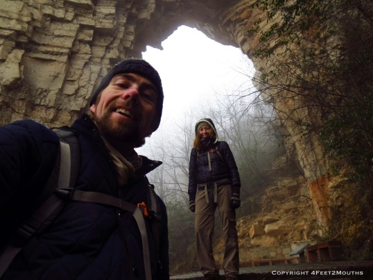 Us with a limestone arch