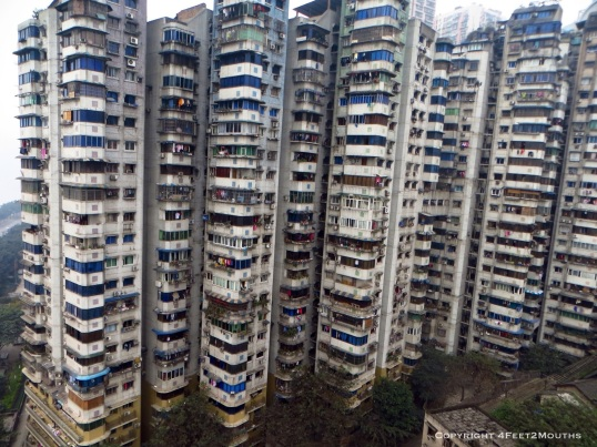 Chongqing apartment towers as seem from a cable car