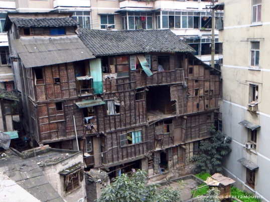Traditional four-story home still with residents