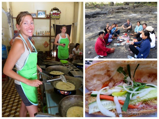 Clockwise from left: cooking amok, hanging out with Dalat locals, banh mi
