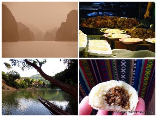 Clockwise from left: Halong Bay, Thai stewed pork, mushroom bun, Laotian jungle