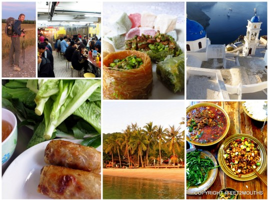 Clockwise from left: the Camino, Hong Kong clay pot restaurant, baklava in Turkey, Santorini, Chengdu delicacies, sunset on the beach in Koh Tao, spring rolls in Saigon