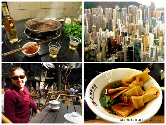 Clockwise from left: hot pot, hong kong high rises, tied tofu skins in Chengdu, tea house in Zigong in Sichuan province