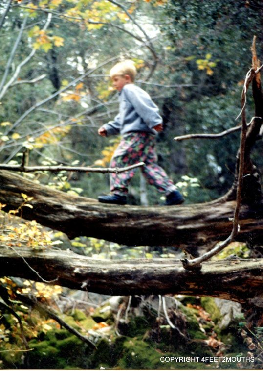 Nathan in the woods, age 9
