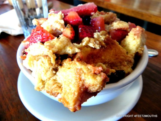Tartine bread pudding with strawberries