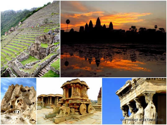 Best Ruins: Machu Picchu, Angkor Wat, Caryatids on the Acropolis, Vittana Temple & carved church in Cappadocia