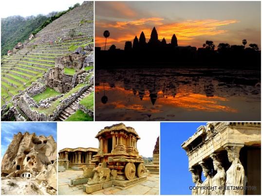 Best Ruins: Machu Picchu, Angkor Wat, Caryatids on the Acropolis, Vittana Temple & carved church in Cappadocia