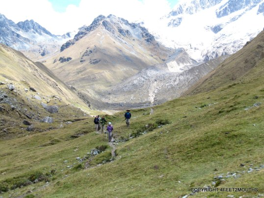 Trekking with friends below Salkantay