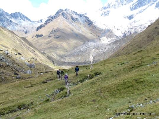 Trekking with friends below Salkantay