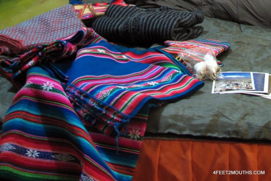 Souvenir fabrics from  haggled for in the markets of Bolivia
