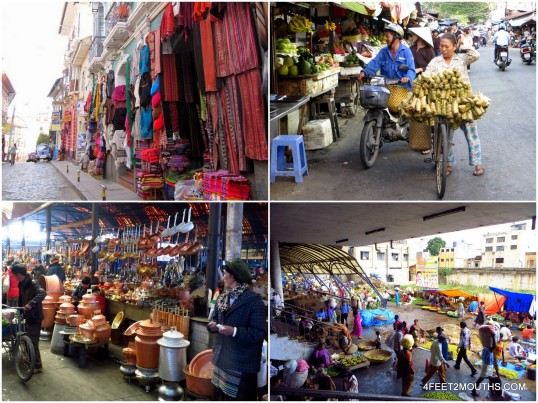 Markets around the world - (clockwise: La Paz, Saigon, Bangalore & Zhongdian)
