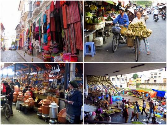 Markets around the world - (clockwise: La Paz, Saigon, Bangalore & Zhongdian)