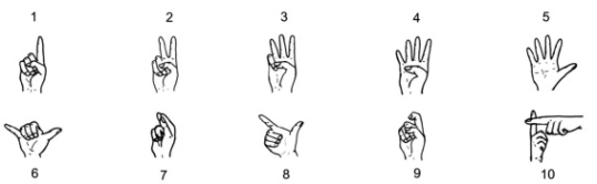Chinese hand gestures for numbers, essential for market bargaining. Note that ten can also be represented by a closed fist, palm facing forward (Image credit: Cognition, Volume 116, Aug 2010)