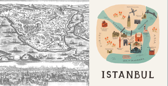 I adore maps, old and new - in this case of Istanbul (Sources: Duke University, Rifle Paper Co)