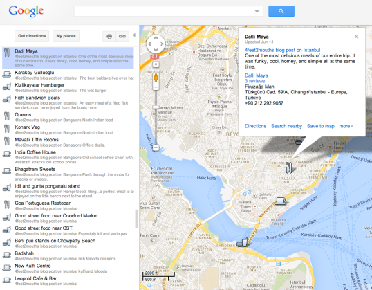 Screenshot of 4feet2Mouths Food Map, zoomed in on Istanbul