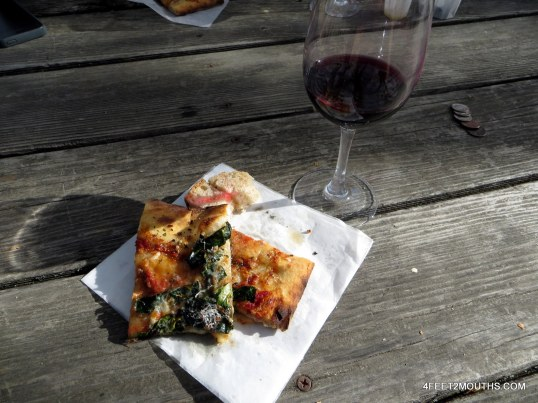 Pizza and wine at Preston Winery in Sonoma