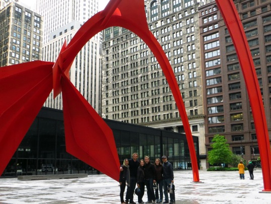 "Soaking in the modern ""Flamingo"" sculpture in Chicago downtown with friends"