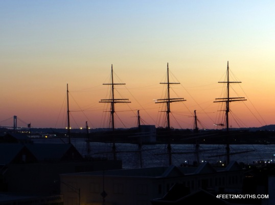 The masts of the Peking sail ship, part of the South Street Seaport Museum