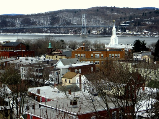 View of Poughkeepsie from the pedestrian bridge over the Hudson River