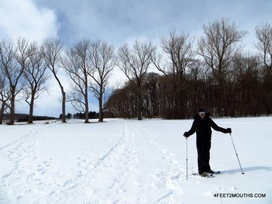 Nathan, expertly snowshoeing at Shelburne Farms