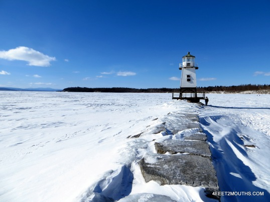 Frozen Lake Champlain lighthouse