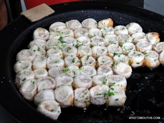 Dumplings getting fried